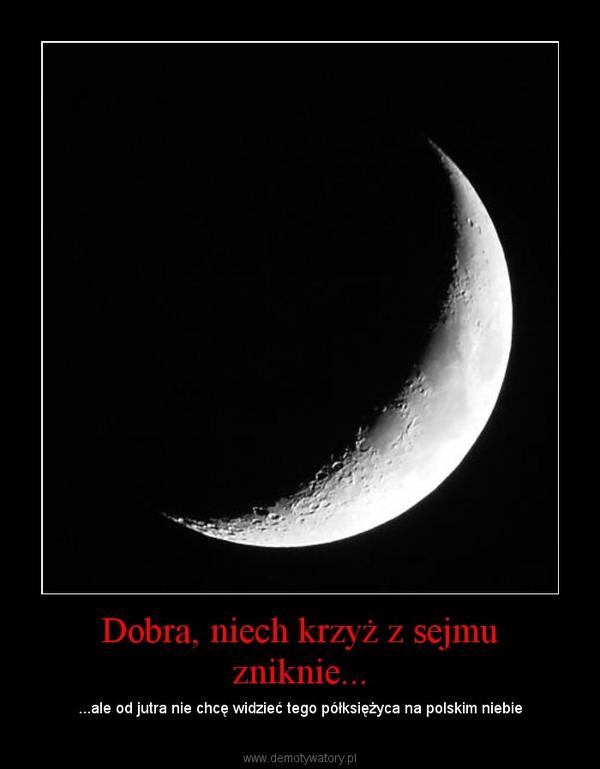 Dobra, niech krzyż z sejmu zniknie... – ...ale od jutra nie chcę widzieć tego półksiężyca na polskim niebie