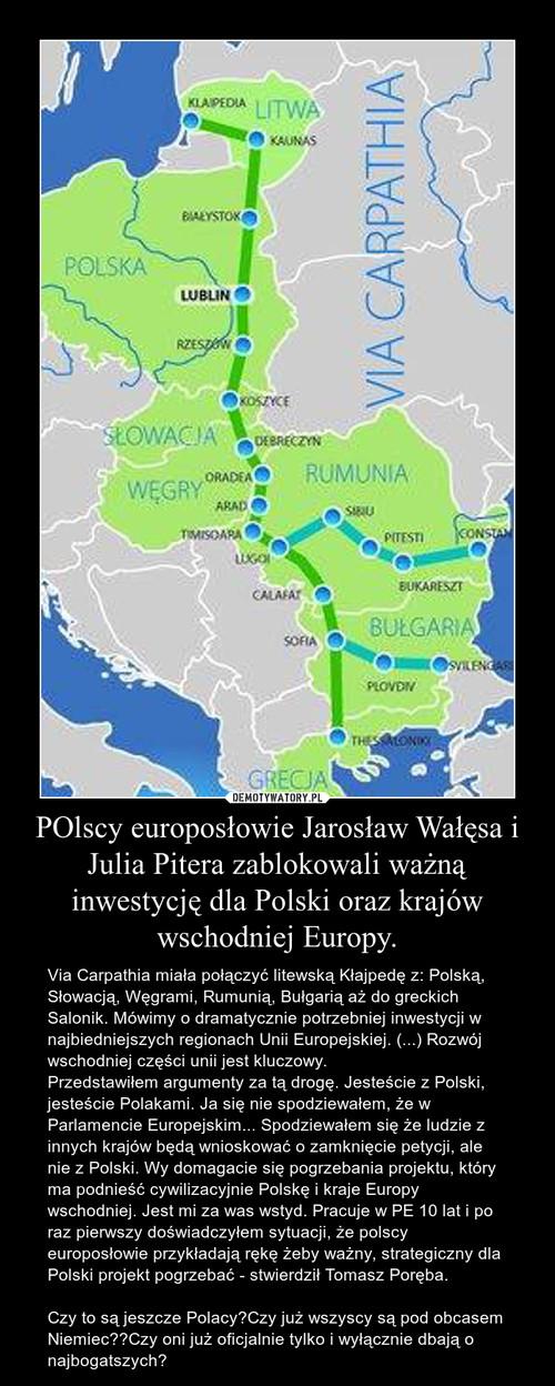 POlscy europosłowie Jarosław Wałęsa i Julia Pitera zablokowali ważną inwestycję dla Polski oraz krajów wschodniej Europy.