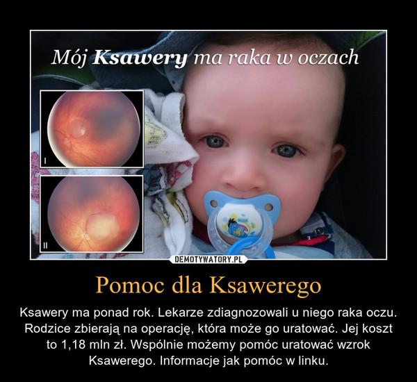 Pomoc dla Ksawerego – Ksawery ma ponad rok. Lekarze zdiagnozowali u niego raka oczu. Rodzice zbierają na operację, która może go uratować. Jej koszt to 1,18 mln zł. Wspólnie możemy pomóc uratować wzrok Ksawerego. Informacje jak pomóc w linku.