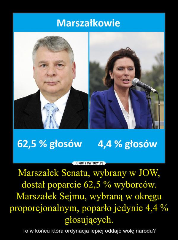 Marszałek Senatu, wybrany w JOW, dostał poparcie 62,5 % wyborców. Marszałek Sejmu, wybraną w okręgu proporcjonalnym, poparło jedynie 4,4 % głosujących. – To w końcu która ordynacja lepiej oddaje wolę narodu?