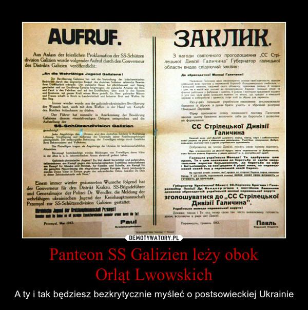 Panteon SS Galizien leży obokOrląt Lwowskich – A ty i tak będziesz bezkrytycznie myśleć o postsowieckiej Ukrainie