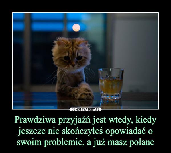Prawdziwa przyjaźń jest wtedy, kiedy jeszcze nie skończyłeś opowiadać o swoim problemie, a już masz polane –