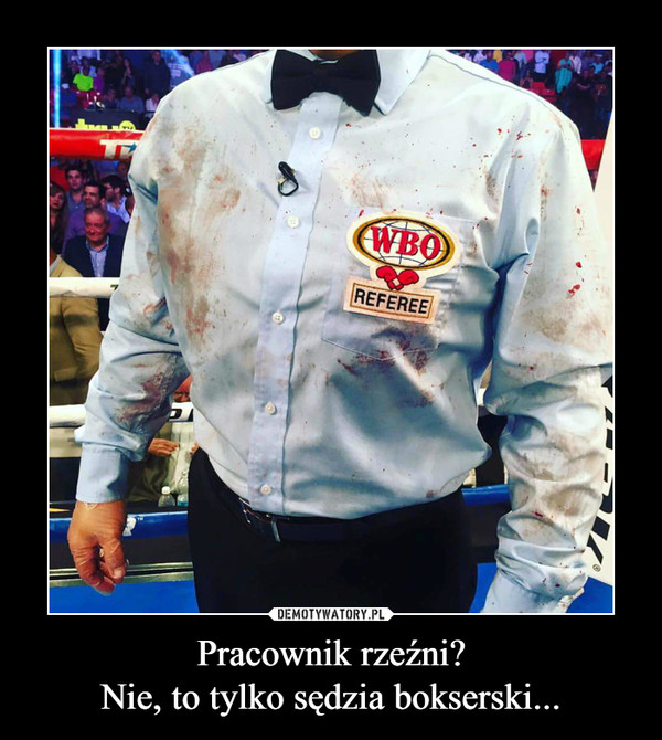Pracownik rzeźni?Nie, to tylko sędzia bokserski... –