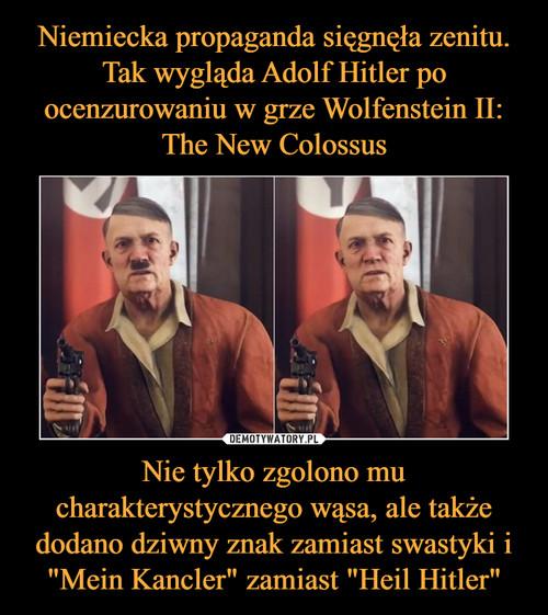 """Niemiecka propaganda sięgnęła zenitu. Tak wygląda Adolf Hitler po ocenzurowaniu w grze Wolfenstein II: The New Colossus Nie tylko zgolono mu charakterystycznego wąsa, ale także dodano dziwny znak zamiast swastyki i """"Mein Kancler"""" zamiast """"Heil Hitler"""""""