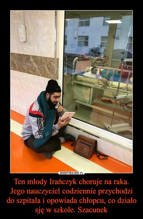 Ten młody Irańczyk choruje na raka. Jego nauczyciel codziennie przychodzi do szpitala i opowiada chłopcu, co działo sję w szkole. Szacunek