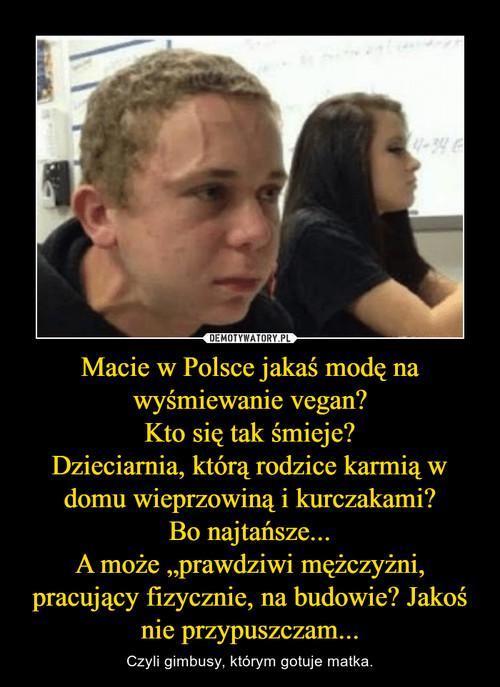 """Macie w Polsce jakaś modę na wyśmiewanie vegan? Kto się tak śmieje? Dzieciarnia, którą rodzice karmią w domu wieprzowiną i kurczakami? Bo najtańsze... A może """"prawdziwi mężczyżni, pracujący fizycznie, na budowie? Jakoś nie przypuszczam..."""
