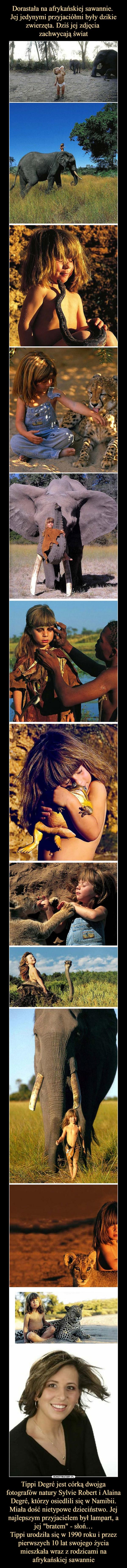 """Tippi Degré jest córką dwojga fotografów natury Sylvie Robert i Alaina Degré, którzy osiedlili się w Namibii. Miała dość nietypowe dzieciństwo. Jej najlepszym przyjacielem był lampart, a jej """"bratem"""" - słoń…Tippi urodziła się w 1990 roku i przez pierwszych 10 lat swojego życia mieszkała wraz z rodzicami na afrykańskiej sawannie –"""