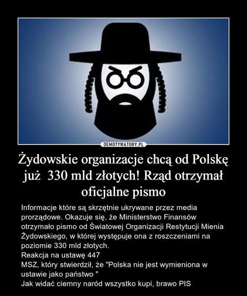 Żydowskie organizacje chcą od Polskę już  330 mld złotych! Rząd otrzymał oficjalne pismo