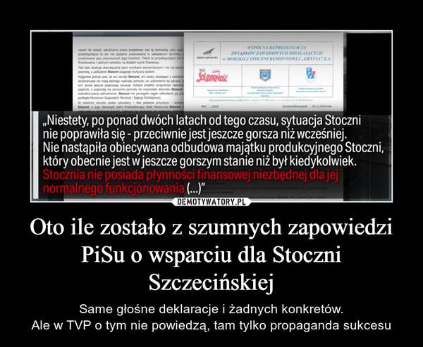Oto ile zostało z szumnych zapowiedzi PiSu o wsparciu dla Stoczni Szczecińskiej – Same głośne deklaracje i żadnych konkretów.Ale w TVP o tym nie powiedzą, tam tylko propaganda sukcesu