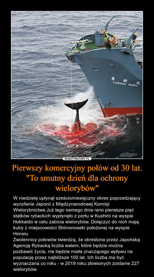 """Pierwszy komercyjny połów od 30 lat. """"To smutny dzień dla ochrony wielorybów"""" – W niedzielę upłynął sześciomiesięczny okres poprzedzający wycofanie Japonii z Międzynarodowej Komisji Wielorybnictwa.Już tego samego dnia rano pierwsze pięć statków rybackich wypłynęło z portu w Kushiro na wyspie Hokkaido w celu zabicia wielorybów. Dołączyć do nich mają kutry z miejscowości Shimonoseki położonej na wyspie Honsiu.Zwolennicy połowów twierdzą, że określona przez Japońską Agencję Rybacką liczba waleni, które będzie można pozbawić życia, nie będzie miała znaczącego wpływu na populację przez najbliższe 100 lat. Ich liczba ma być wyznaczana co roku - w 2019 roku złowionych zostanie 227 wielorybów."""