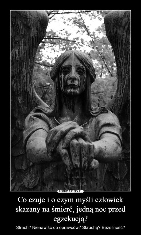 Co czuje i o czym myśli człowiek skazany na śmierć, jedną noc przed egzekucją? – Strach? Nienawiść do oprawców? Skruchę? Bezsilność?