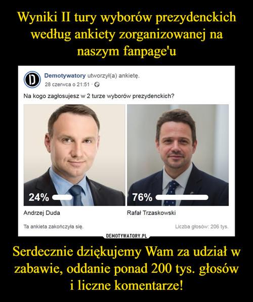 Wyniki II tury wyborów prezydenckich według ankiety zorganizowanej na naszym fanpage'u Serdecznie dziękujemy Wam za udział w zabawie, oddanie ponad 200 tys. głosów i liczne komentarze!