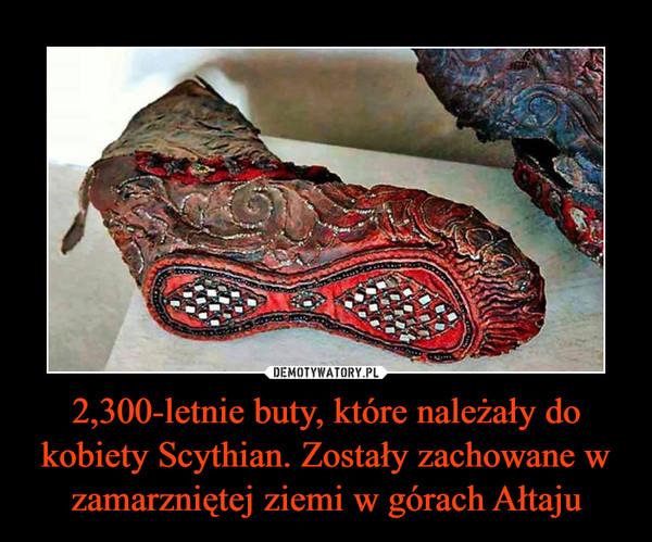 2,300-letnie buty, które należały do kobiety Scythian. Zostały zachowane w zamarzniętej ziemi w górach Ałtaju –