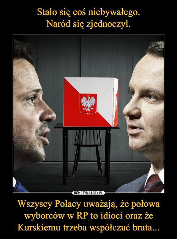 Wszyscy Polacy uważają, że połowa wyborców w RP to idioci oraz że Kurskiemu trzeba współczuć brata... –