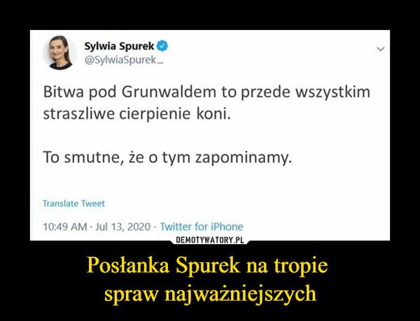 Posłanka Spurek na tropie spraw najważniejszych –  Sylwia Spurek@SylwiaSpurek-Bitwa pod Grunwaldem to przede wszystkimstraszliwe cierpienie koni.To smutne, że o tym zapominamy.Translate Tweet10:49 AM Jul 13, 2020 · Twitter for iPhone