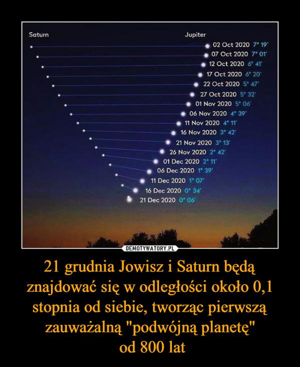 """21 grudnia Jowisz i Saturn będą znajdować się w odległości około 0,1 stopnia od siebie, tworząc pierwszą zauważalną """"podwójną planetę"""" od 800 lat –"""