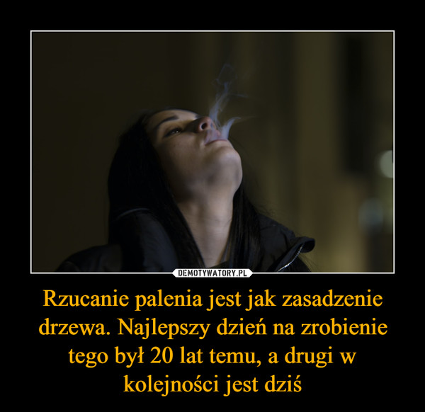 Rzucanie palenia jest jak zasadzenie drzewa. Najlepszy dzień na zrobienie tego był 20 lat temu, a drugi w kolejności jest dziś –