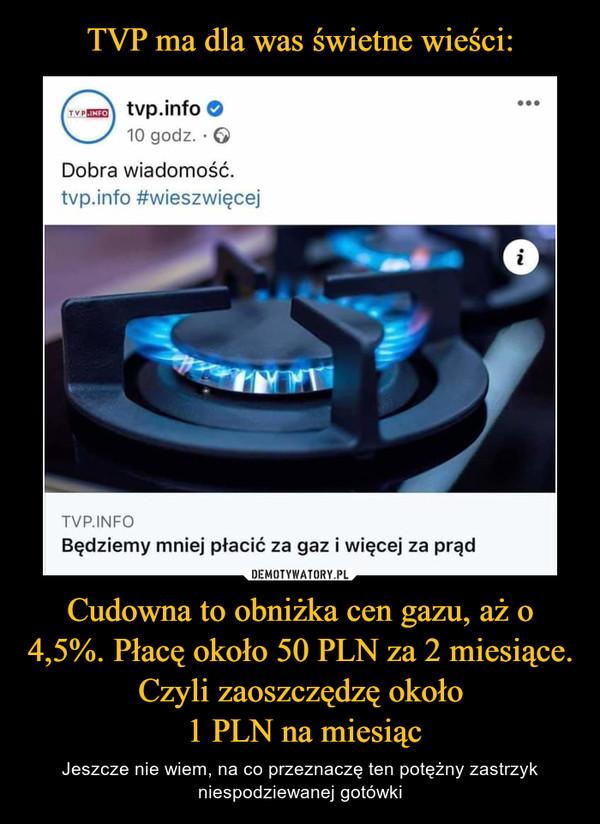 Cudowna to obniżka cen gazu, aż o 4,5%. Płacę około 50 PLN za 2 miesiące. Czyli zaoszczędzę około 1 PLN na miesiąc – Jeszcze nie wiem, na co przeznaczę ten potężny zastrzyk niespodziewanej gotówki