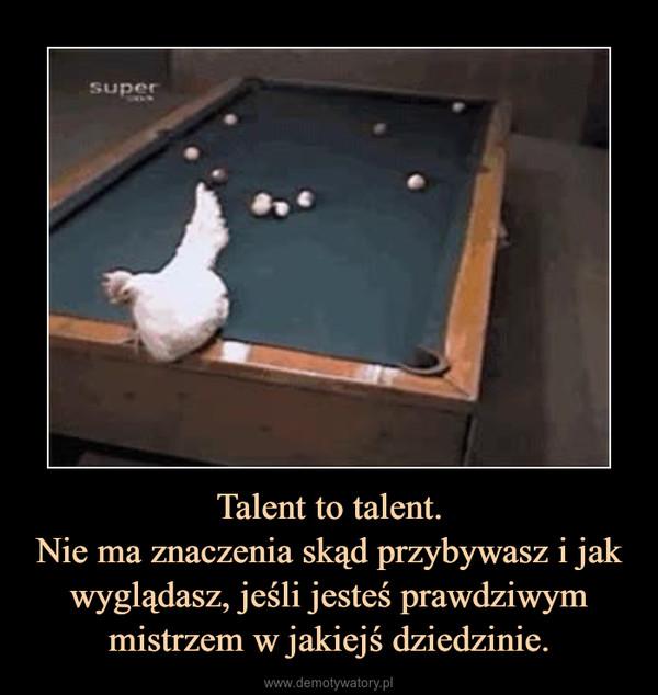 Talent to talent.Nie ma znaczenia skąd przybywasz i jak wyglądasz, jeśli jesteś prawdziwym mistrzem w jakiejś dziedzinie. –