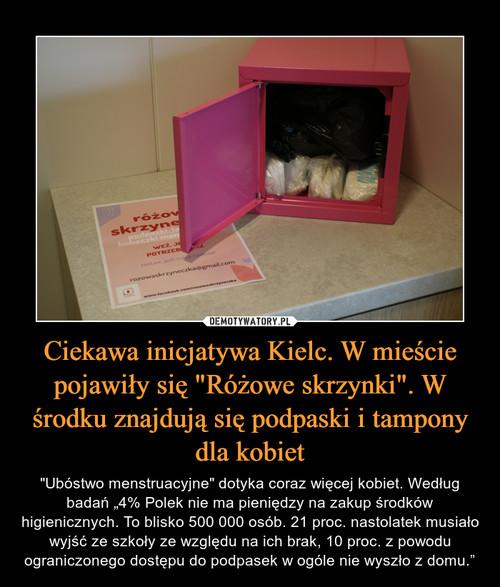 """Ciekawa inicjatywa Kielc. W mieście pojawiły się """"Różowe skrzynki"""". W środku znajdują się podpaski i tampony dla kobiet"""