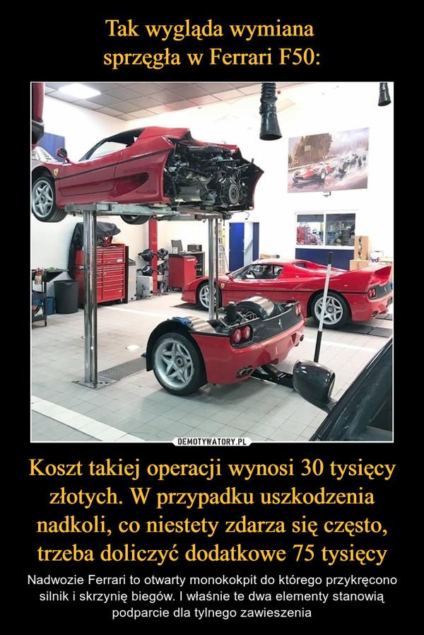Koszt takiej operacji wynosi 30 tysięcy złotych. W przypadku uszkodzenia nadkoli, co niestety zdarza się często, trzeba doliczyć dodatkowe 75 tysięcy – Nadwozie Ferrari to otwarty monokokpit do którego przykręcono silnik i skrzynię biegów. I właśnie te dwa elementy stanowią podparcie dla tylnego zawieszenia