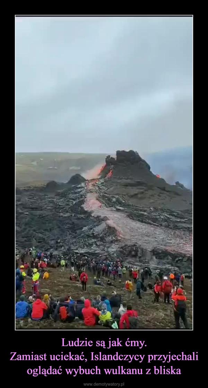 Ludzie są jak ćmy.Zamiast uciekać, Islandczycy przyjechali oglądać wybuch wulkanu z bliska –