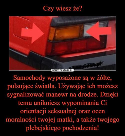 Czy wiesz że? Samochody wyposażone są w żółte, pulsujące światła. Używając ich możesz sygnalizować manewr na drodze. Dzięki temu unikniesz wypominania Ci orientacji seksualnej oraz ocen moralności twojej matki, a także twojego plebejskiego pochodzenia!