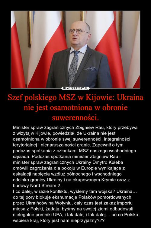 Szef polskiego MSZ w Kijowie: Ukraina nie jest osamotniona w obronie suwerenności.