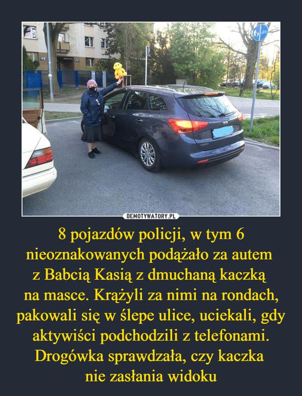 8 pojazdów policji, w tym 6 nieoznakowanych podążało za autem z Babcią Kasią z dmuchaną kaczką na masce. Krążyli za nimi na rondach, pakowali się w ślepe ulice, uciekali, gdy aktywiści podchodzili z telefonami. Drogówka sprawdzała, czy kaczka nie zasłania widoku –