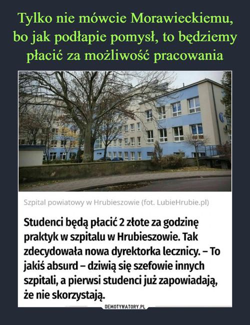 Tylko nie mówcie Morawieckiemu, bo jak podłapie pomysł, to będziemy płacić za możliwość pracowania