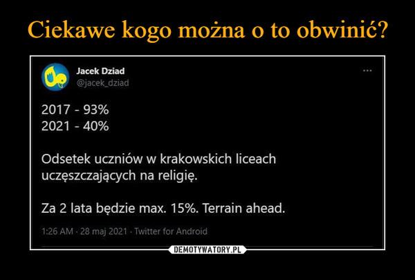 –  Jacek Dorad @jacek_dziad 2017 - 93% 2021 - 40% Odsetek uczniów w krakowskich liceach uczęszczających na religię. Za 2 lata będzie max. 15%. Terrain ahead. AU • 28 maj 2021 • Twitter for Android