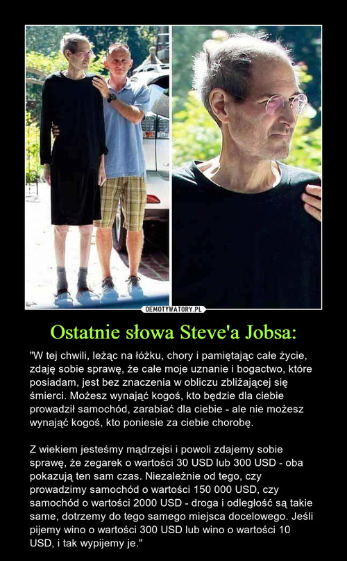 Ostatnie słowa Steve'a Jobsa: