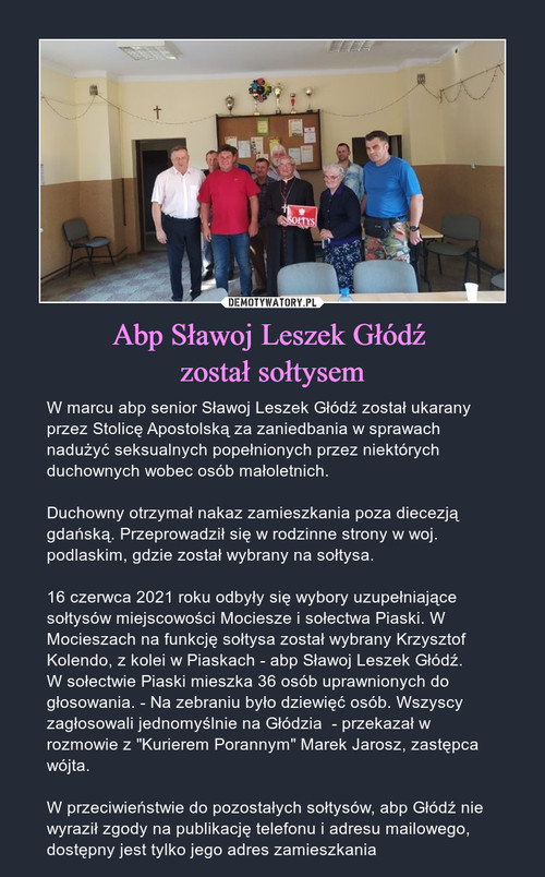 Abp Sławoj Leszek Głódź  został sołtysem