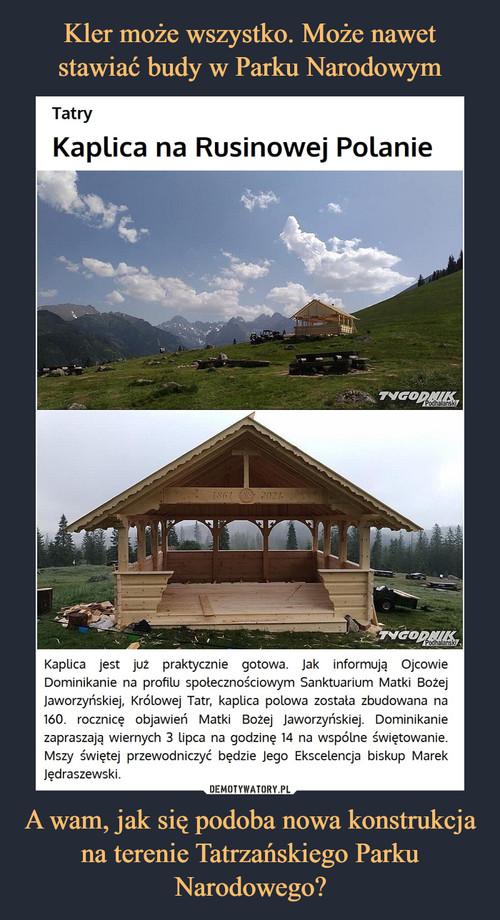 Kler może wszystko. Może nawet stawiać budy w Parku Narodowym A wam, jak się podoba nowa konstrukcja na terenie Tatrzańskiego Parku Narodowego?