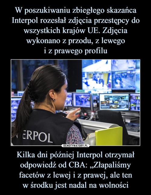 """W poszukiwaniu zbiegłego skazańca Interpol rozesłał zdjęcia przestępcy do wszystkich krajów UE. Zdjęcia wykonano z przodu, z lewego i z prawego profilu Kilka dni później Interpol otrzymał odpowiedź od CBA: """"Złapaliśmy facetów z lewej i z prawej, ale ten w środku jest nadal na wolności"""