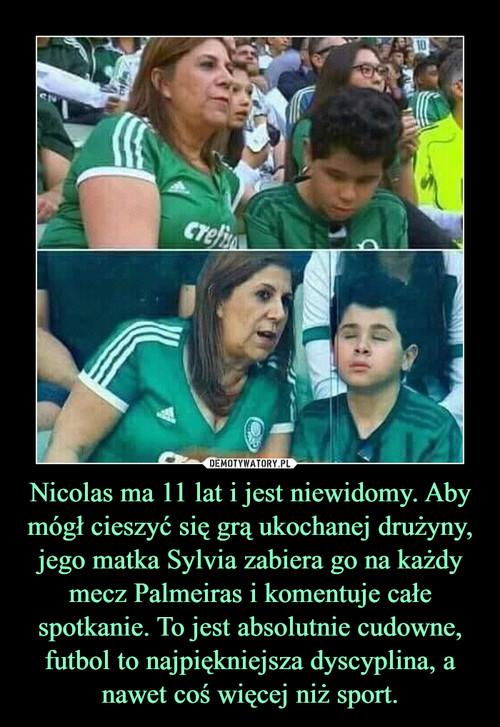 Nicolas ma 11 lat i jest niewidomy. Aby mógł cieszyć się grą ukochanej drużyny, jego matka Sylvia zabiera go na każdy mecz Palmeiras i komentuje całe spotkanie. To jest absolutnie cudowne, futbol to najpiękniejsza dyscyplina, a nawet coś więcej niż sport.