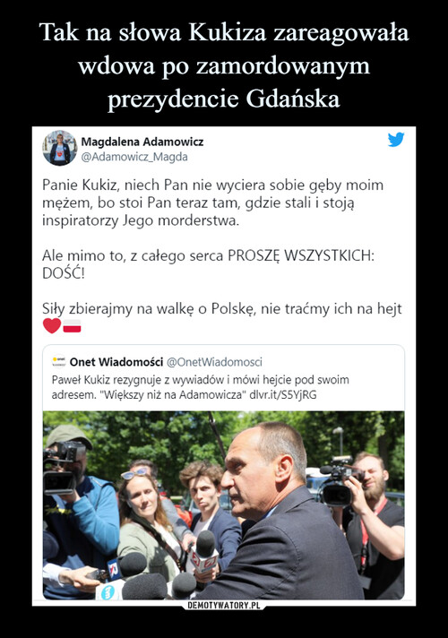 Tak na słowa Kukiza zareagowała wdowa po zamordowanym prezydencie Gdańska