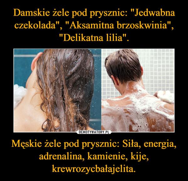 Męskie żele pod prysznic: Siła, energia, adrenalina, kamienie, kije, krewrozycbałajelita. –