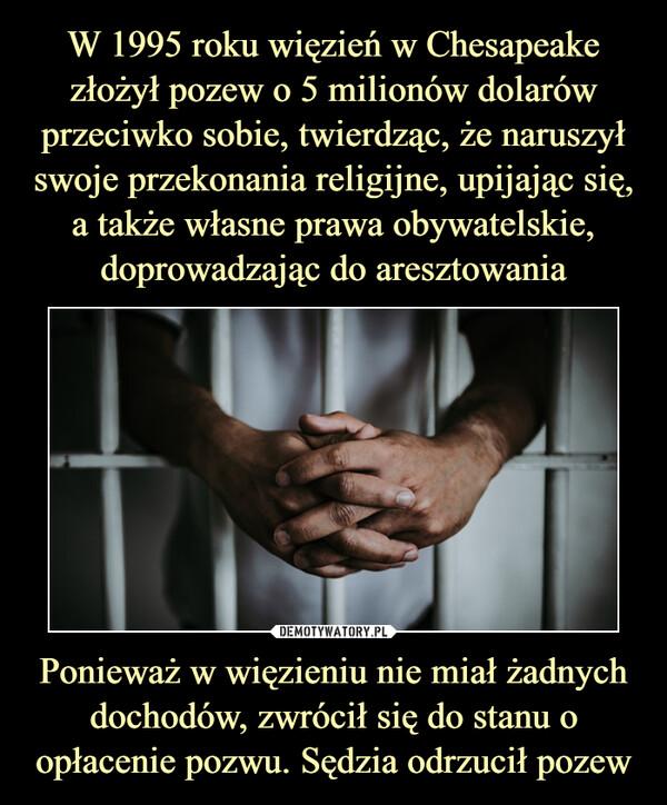 Ponieważ w więzieniu nie miał żadnych dochodów, zwrócił się do stanu o opłacenie pozwu. Sędzia odrzucił pozew –