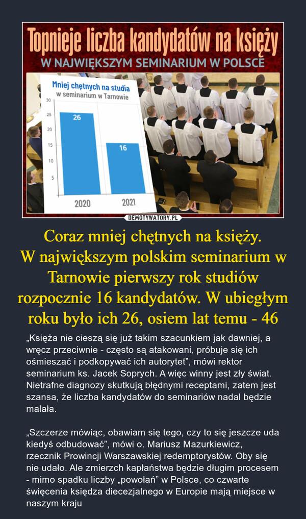 """Coraz mniej chętnych na księży.W największym polskim seminarium w Tarnowie pierwszy rok studiów rozpocznie 16 kandydatów. W ubiegłym roku było ich 26, osiem lat temu - 46 – """"Księża nie cieszą się już takim szacunkiem jak dawniej, a wręcz przeciwnie - często są atakowani, próbuje się ich ośmieszać i podkopywać ich autorytet"""", mówi rektor seminarium ks. Jacek Soprych. A więc winny jest zły świat. Nietrafne diagnozy skutkują błędnymi receptami, zatem jest szansa, że liczba kandydatów do seminariów nadal będzie malała. """"Szczerze mówiąc, obawiam się tego, czy to się jeszcze uda kiedyś odbudować"""", mówi o. Mariusz Mazurkiewicz, rzecznik Prowincji Warszawskiej redemptorystów. Oby się nie udało. Ale zmierzch kapłaństwa będzie długim procesem - mimo spadku liczby """"powołań"""" w Polsce, co czwarte święcenia księdza diecezjalnego w Europie mają miejsce w naszym kraju Topnieje liczba kandydatów na księży w największym seminarium w Polsce"""