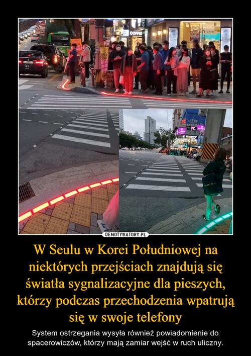 W Seulu w Korei Południowej na niektórych przejściach znajdują się światła sygnalizacyjne dla pieszych, którzy podczas przechodzenia wpatrują się w swoje telefony